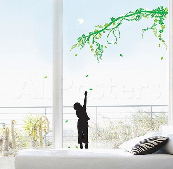 child catching falling leaves branch wall decal at allposters