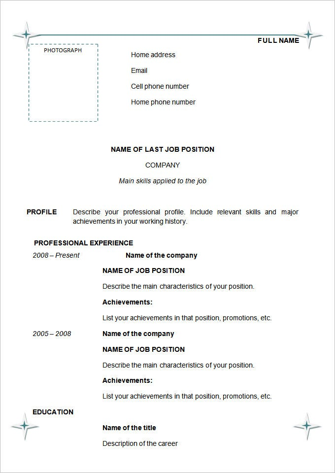 chronological resume template download