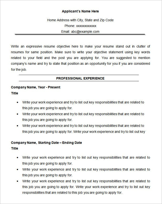 chronological resume template download - Gidiye.redformapolitica.co