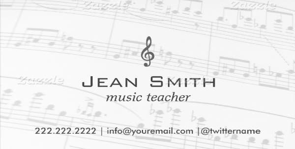 classy music notes music teacher business card