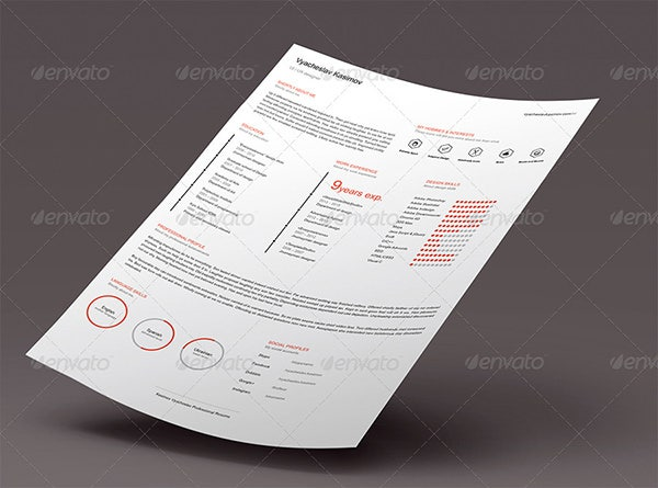 clean flat resume cv