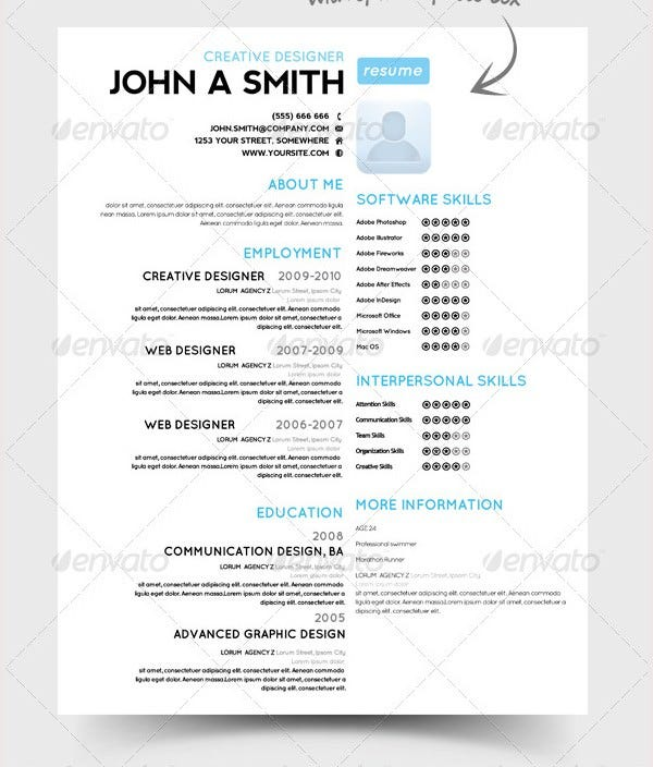 Single Page Resume Template  Resume Templates And Resume Builder