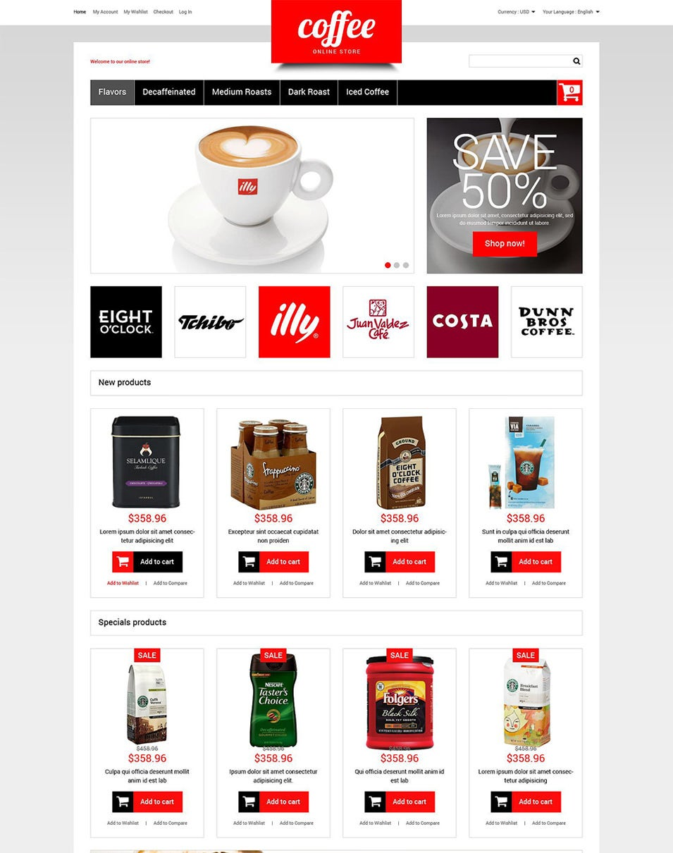 coffee store magento theme