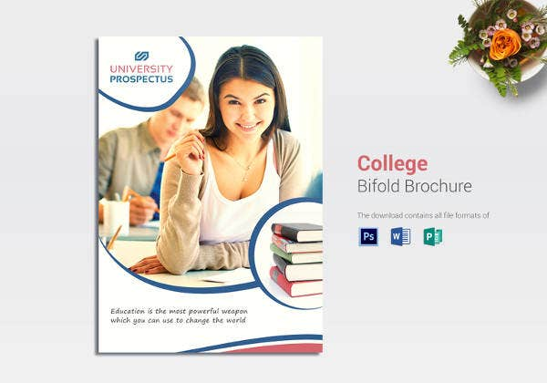 college bi fold brochure design template