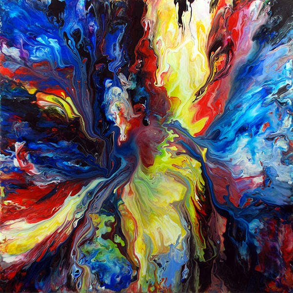 colourful acrylic fluid painting
