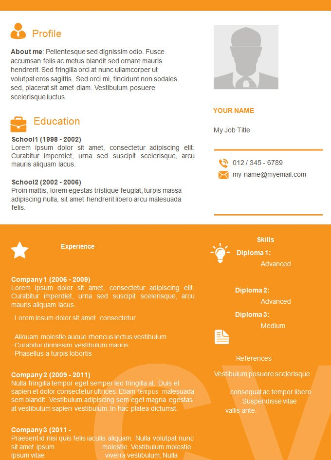 colourful basic resume template