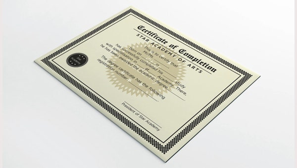 Completion Certificate Design
