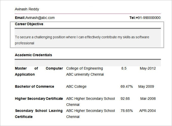 computer engineering resume format for freshers objective
