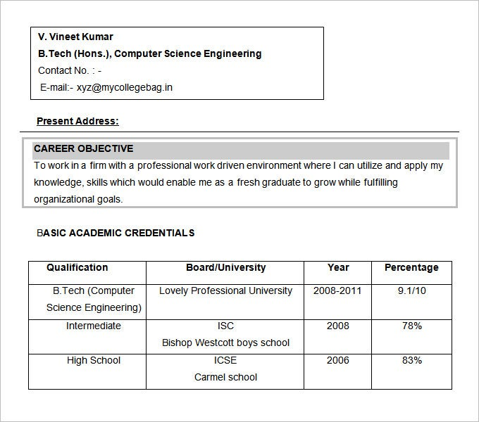 Resume Format Download For Btech Freshers   Best Resume Template Similar To B tech Fresher RESUME