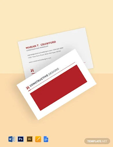 construction company manager business card template