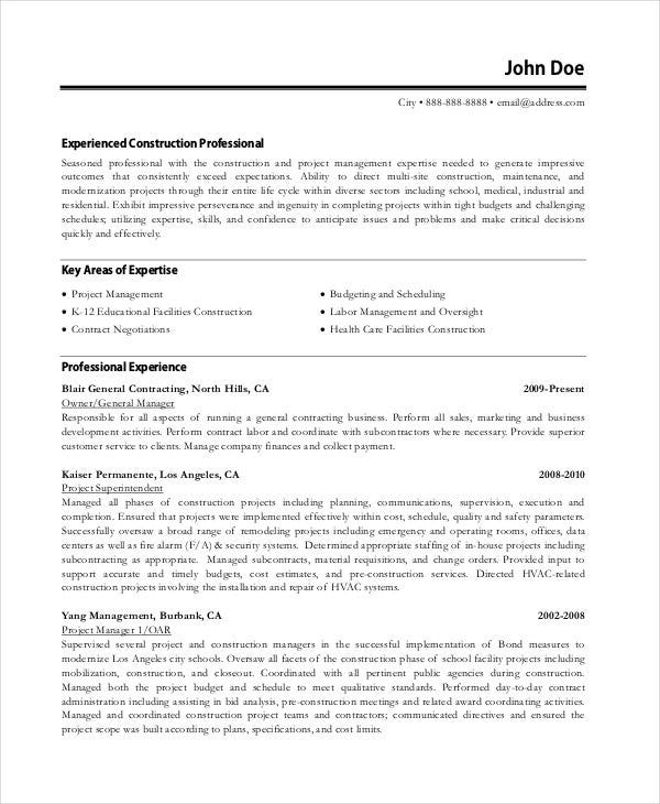 construction project manager resume format free download