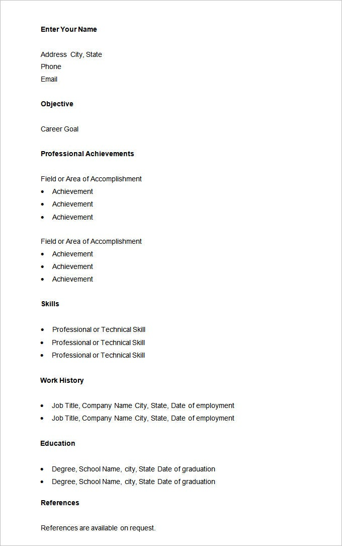 basic resume template free samples examples format download - Job Resumes Templates