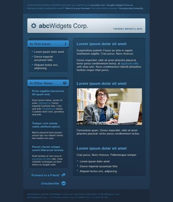 cool html email templates - 45 free email html html5 themes templates free