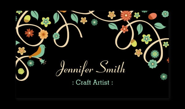 craft artist elegant swirl floral business cards