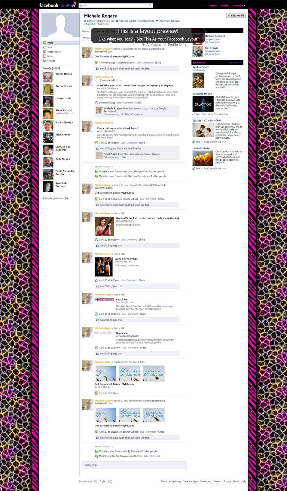 crazy animal print facebook layout preview