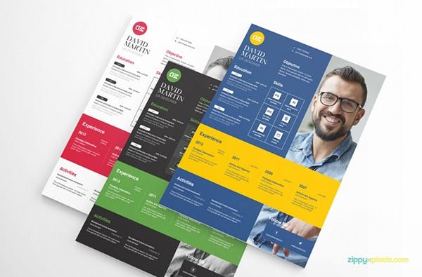 Creative Business Resume Template with 3 color options