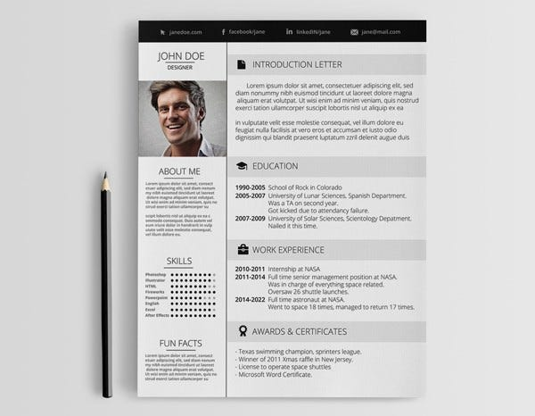 Creative Designer Resume Template  Pages Resume Template