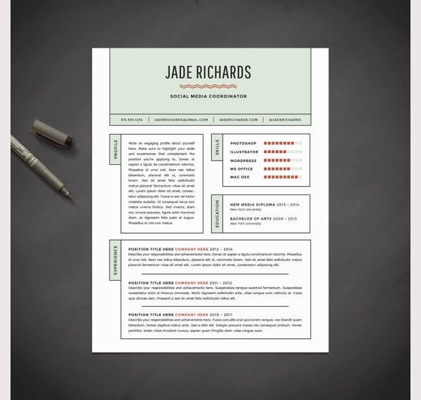 Creative Resume Template and Cover Letter Template for Word