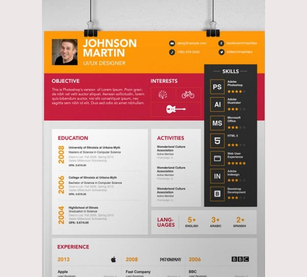 Simple PSD Resume Template for Designers