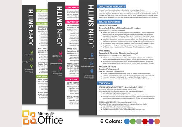 Microsoft Word Resume Templates. Resume Template Bundle | Cv ...