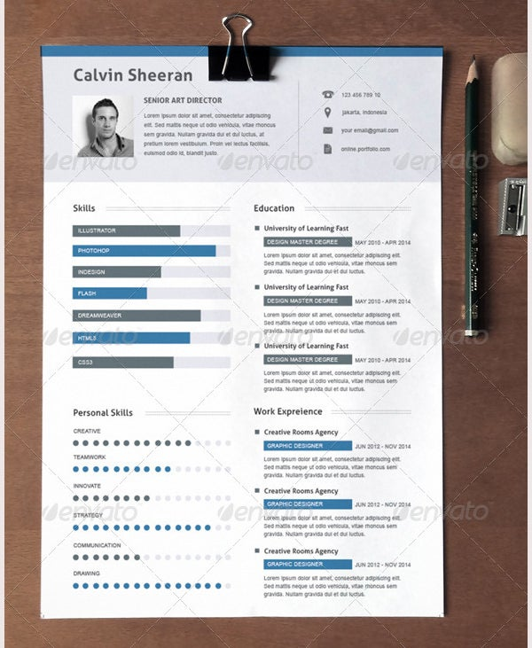Creative Resume Template For Director  Creative Resume Template Free