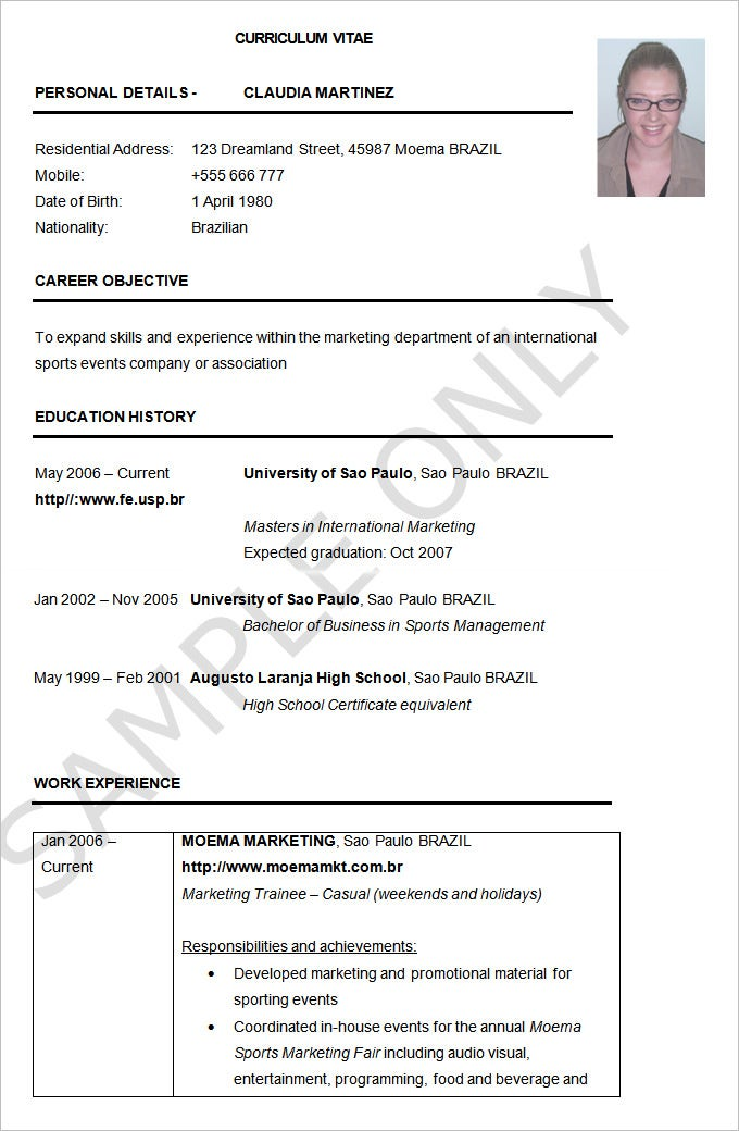 Resume Example 19 Free Samples Examples Format