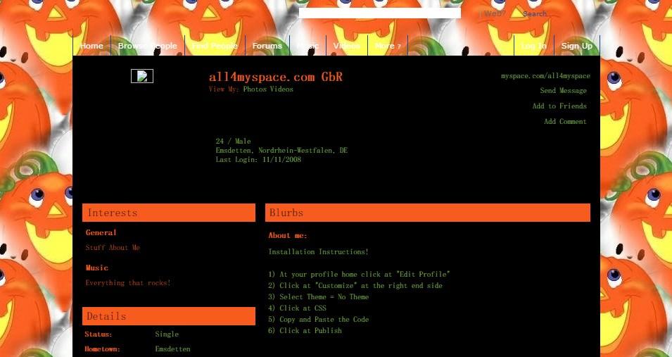 cute halloween default myspace layouts 2