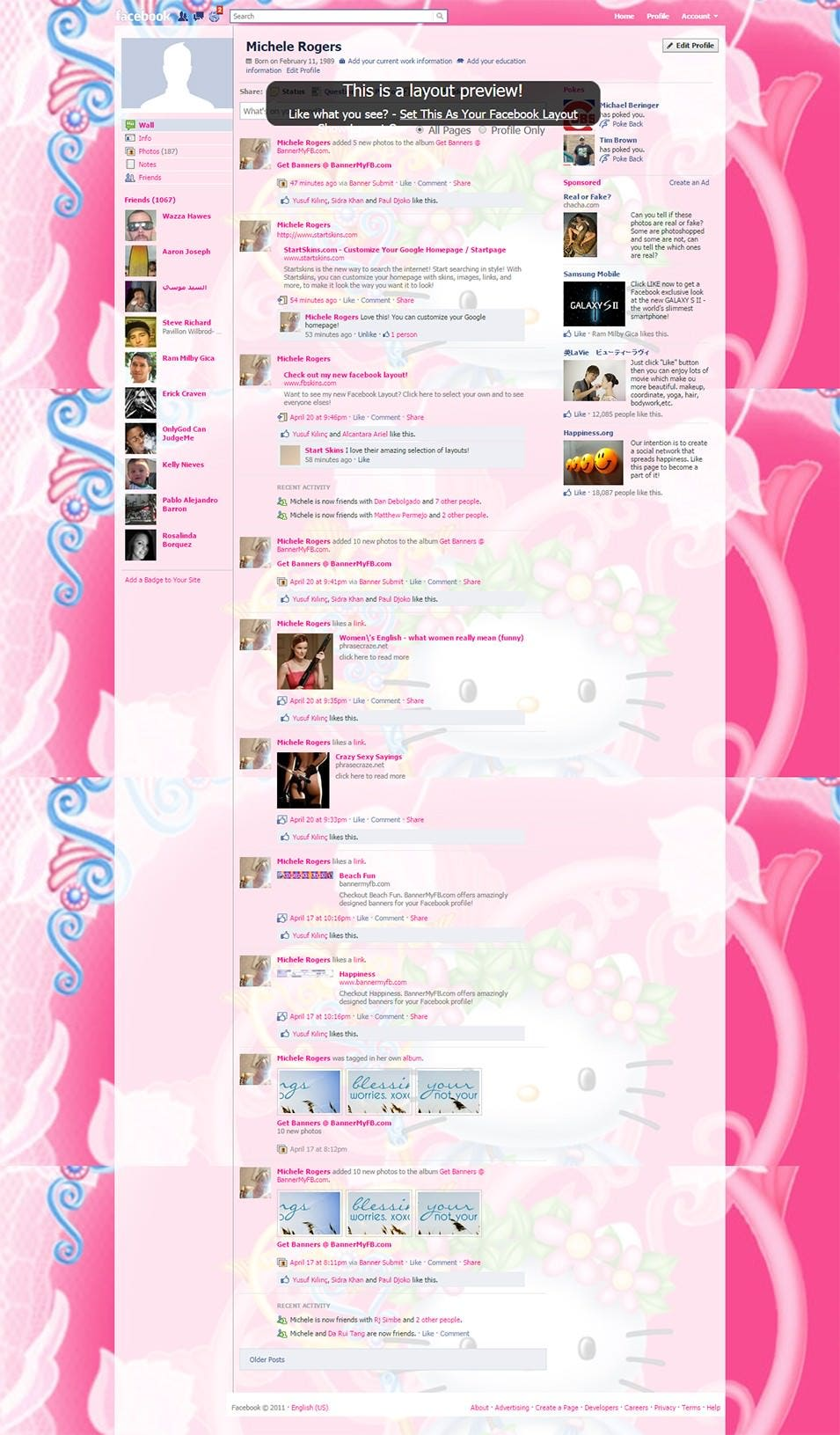 cute hello kitty facebook layout preview