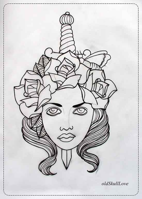 Dagger Tattoo Outline: 27+ Best Collection Of Tattoo Illustration Designs For