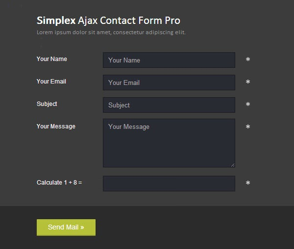 dark simplex ajax contact form pro