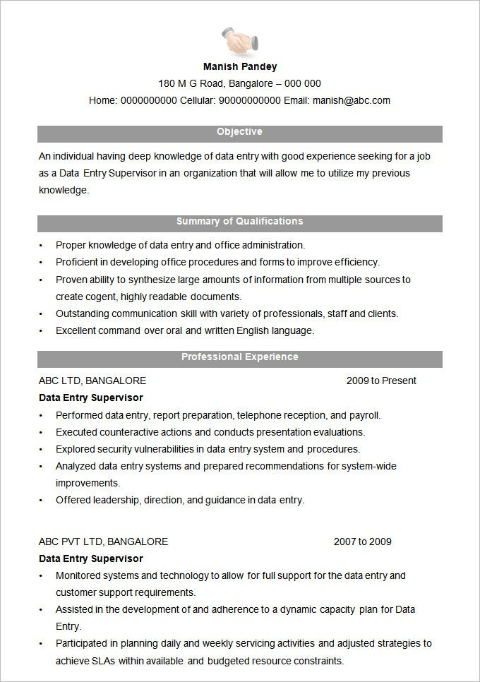 Data Entry Supervisor Resume Format,Sample Resume Of Data Entry ...