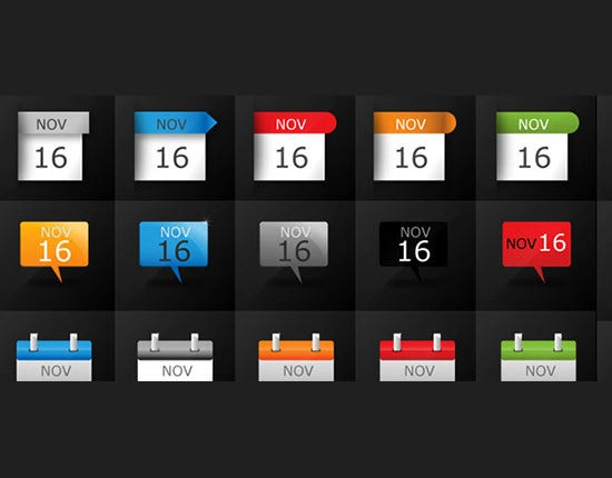 date calendar icons set