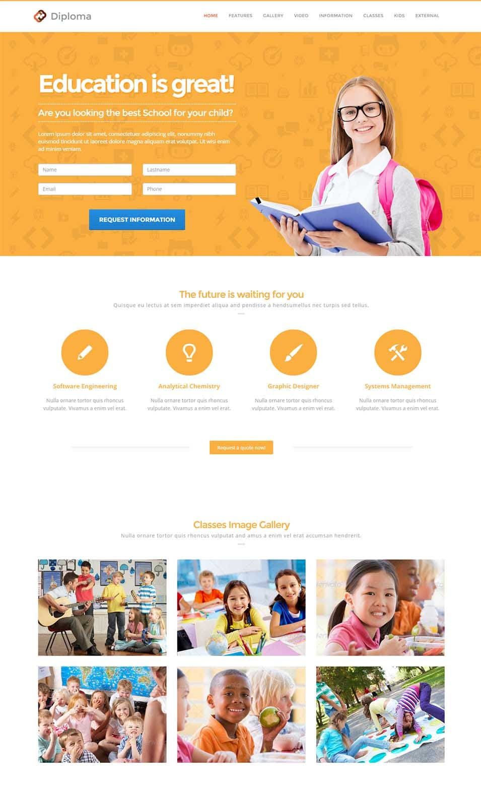 diploma responsive bootstrap 3 landing page template