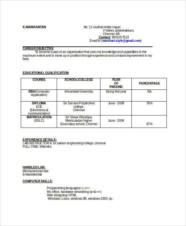 ECE-Resume-Template-Format11 Tabular Resume Format For Educational Purposes on