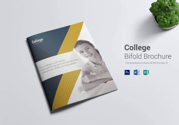 editable college bi fold psd brochure template