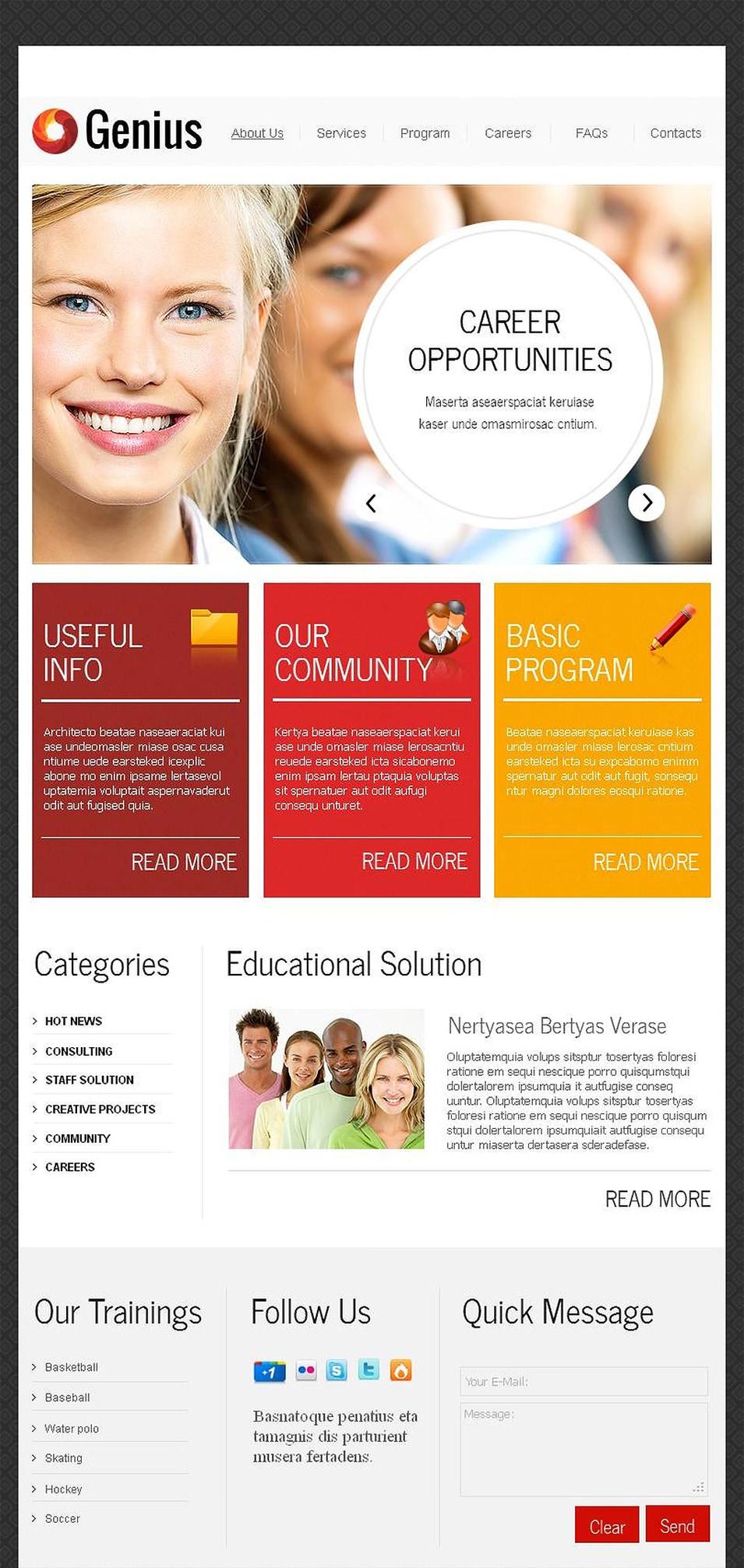 education facebook html cms template