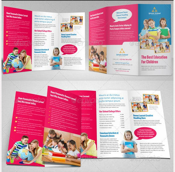 College Brochure Templates Free JPG PSD Indesign Format - Tri fold school brochure template