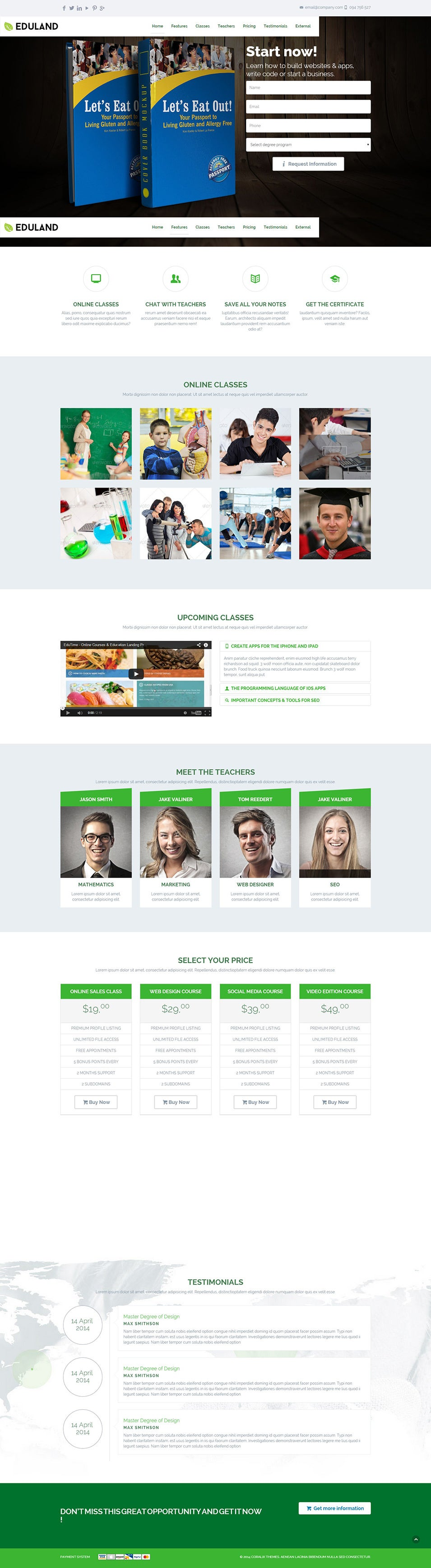 eduland collage career html landing page