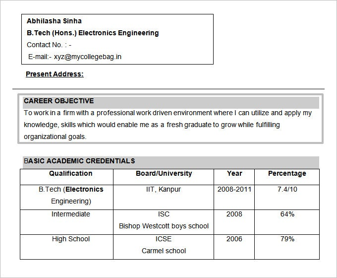 electronics engineering resume objective free doc format - Sample Objectives Resume