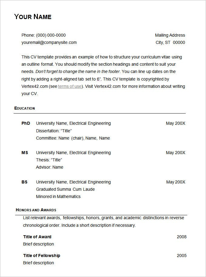 Basic Resume Template – 51+ Free Samples, Examples, Format Download ...