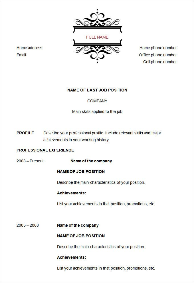 sample chronological resume template chronological resume template free samples examples format