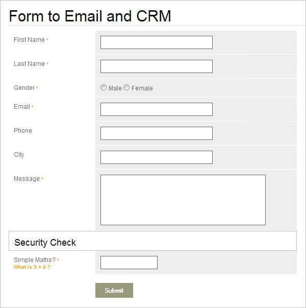 email crm php contact form