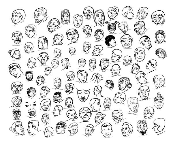 emotion cartoon face sketches