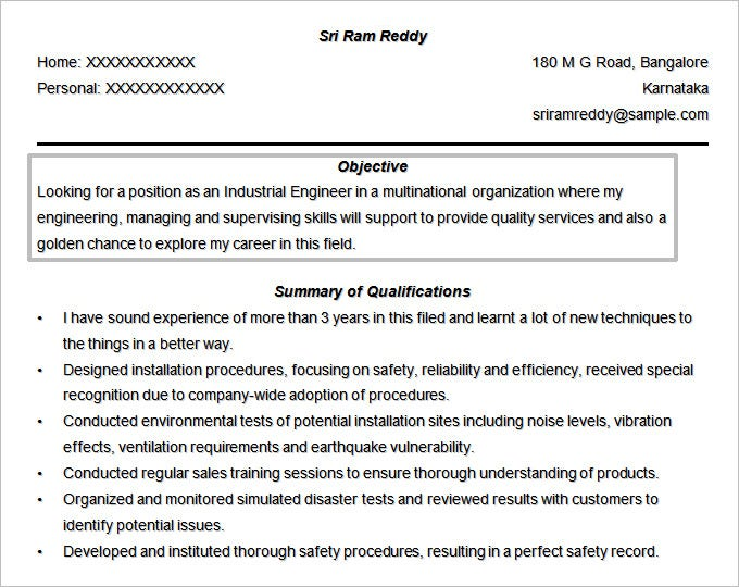 Engineer Resume Objective Template