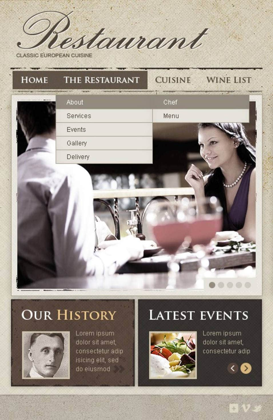 european restaurant facebook template