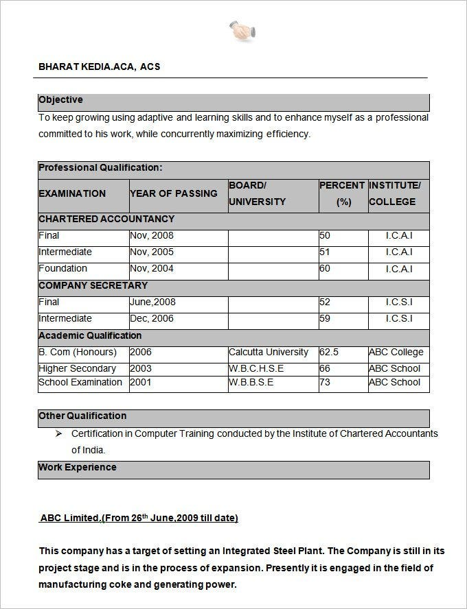 excellent resume format free download