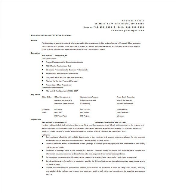 Administrative Assistant Resume Format Free Download