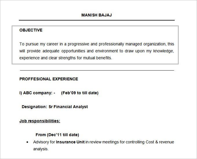 free doc financial analyst resume format objective template - Objective In Resume For Freshers