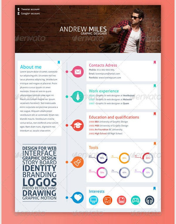 Simple Graphic Design Resume Template  VisualbrainsInfo