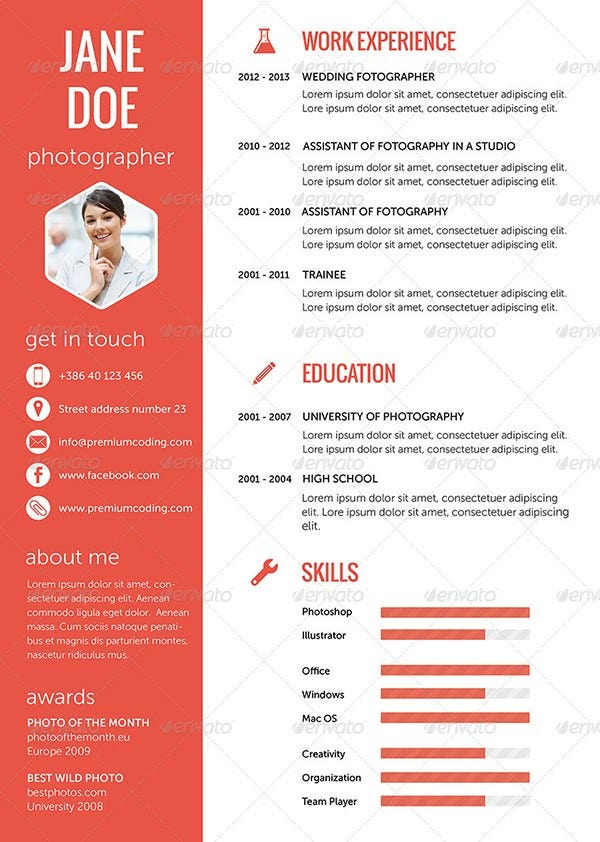 flat resume set in 5 variations